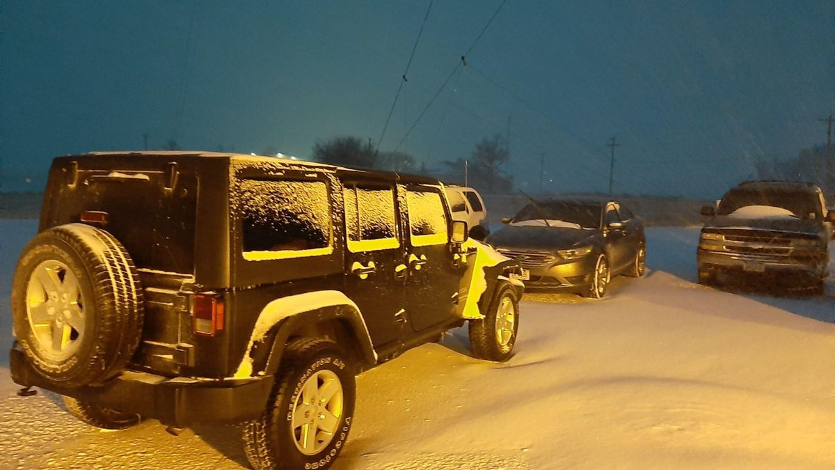 Snow began falling overnight and will continue to pile up throughout Monday before ending after...