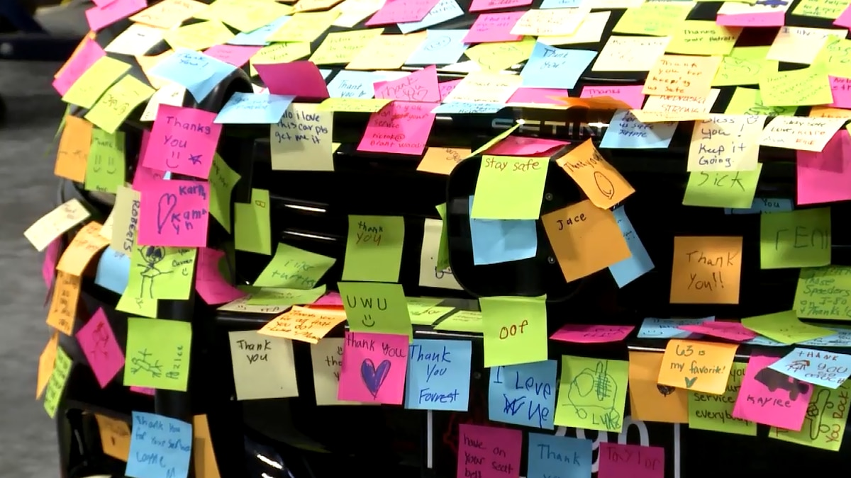 Nebraska State Patrol's State Fair exhibit is hoping to cover an entire patrol car in Post-It notes.
