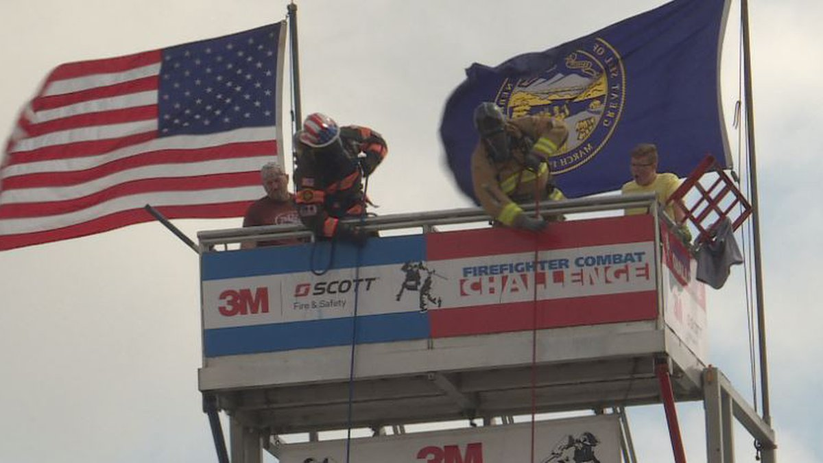 Firefighters face off during the Firefighter Combat Challenge. (KSNB)