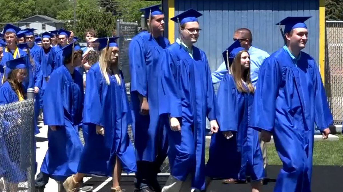 """Governor Pete Ricketts says a high school graduation ceremony will happen in Nebraska only if the """"10 person rule"""" becomes less restrictive by summer.  He says students should be able to advance a grade by next fall after online learning this spring. (SOURCE: Jacque Harms/KNOP-TV)"""