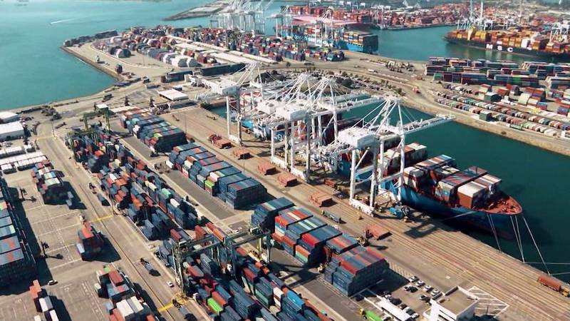 Ports in Los Angeles and Long Beach, California, account for 40% of all shipping containers...
