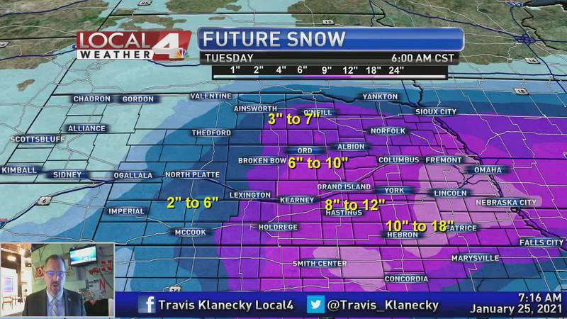 Heavier snow impacts much of the area today.