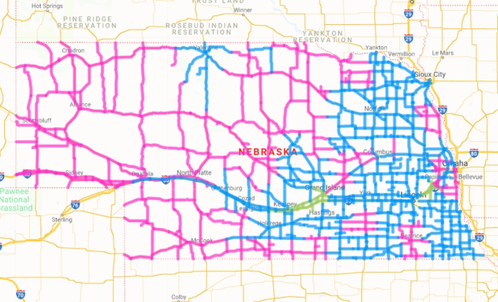 Nebraska 511 map on October 26 just after 6 a.m. where much of the state is dealing with some...