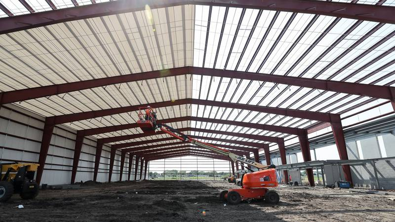Construction is progressing well for the new UNK Tennis Complex.