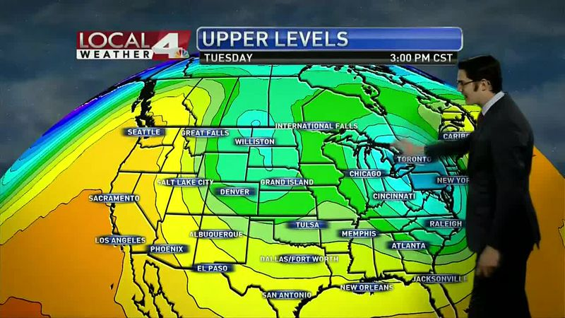 Cooler temps this week while ridge builds to our west, but doesn't bring warmer weather our way.