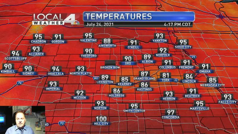 Slim rain chances for Sunday, very hot temperatures for next week