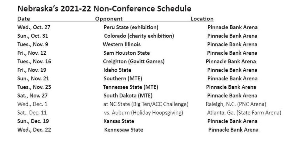 Nebraska Men's Basketball 2021-22 Non-Conference Schedule