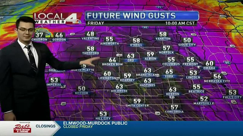 Winds will gust upwards of 50-60mph tomorrow morning. Things quiet down by the weekend.