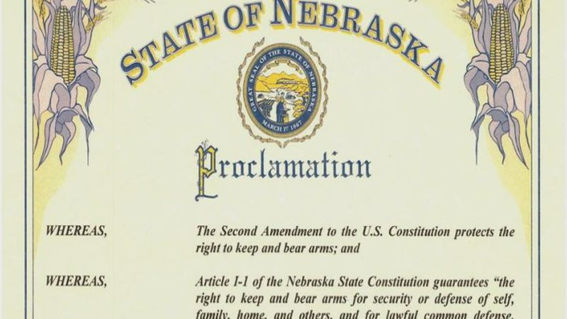 Gov. Ricketts proclamation of Nebraska as a Second Amendment Sanctuary State.