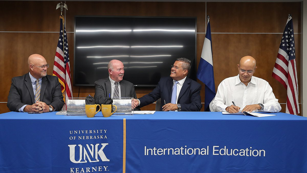 Representatives from UNK and the National University of Engineering (UNI) in Nicaragua sign a...