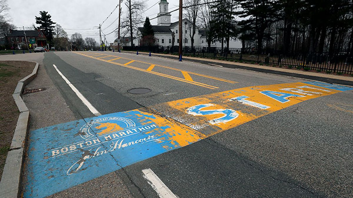 The Boston Marathon start line is vacant in Hopkinton, Mass., Monday, April 20, 2020. Due to the coronavirus outbreak, the 124th Boston Marathon, which would have been run in April, was canceled. (Source: Charles Krupa/AP Photo)