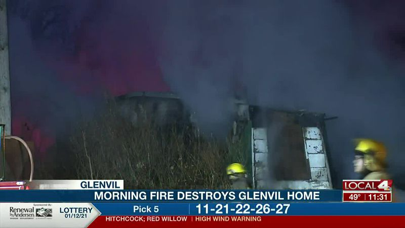 A home was destroyed by a fire in Glenvil Wednesday morning.