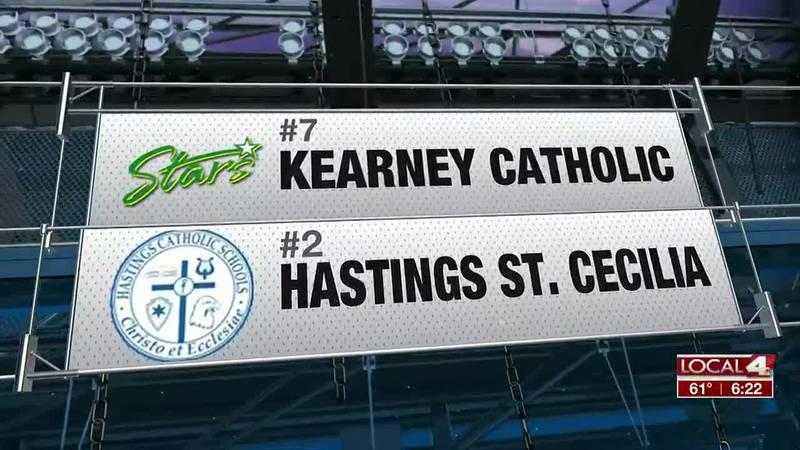 Kearney Catholic upset St. Cecilia to start the State Softball Tourney
