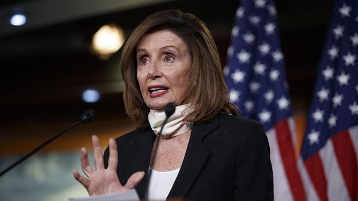 House Speaker Nancy Pelosi of California speaks during a news conference on Capitol Hill in Washington, Thursday, May 28, 2020. (AP Photo/Carolyn Kaster)