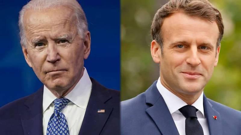 Presidents Joe Biden and Emmanuel Macron agree tensions rooted in the breakdown of the...