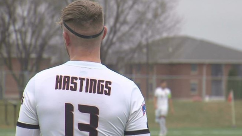 Jackson Brown waits for action to resume during Hastings College men's soccer match