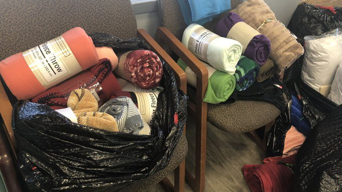 Hall County Clerk dropped six large bags of donations off to Hope Harbor Wednesday morning. (Credit:Alicia Naspretto, KSNB)