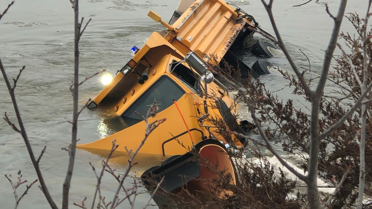 A Nebraska Department of Transportation employee was taken to a hospital Tuesday morning after the snowplow he was driving ended up in the Platte River, according to Sarpy County Sheriff's deputies at the scene. (Emily Dwire / WOWT)