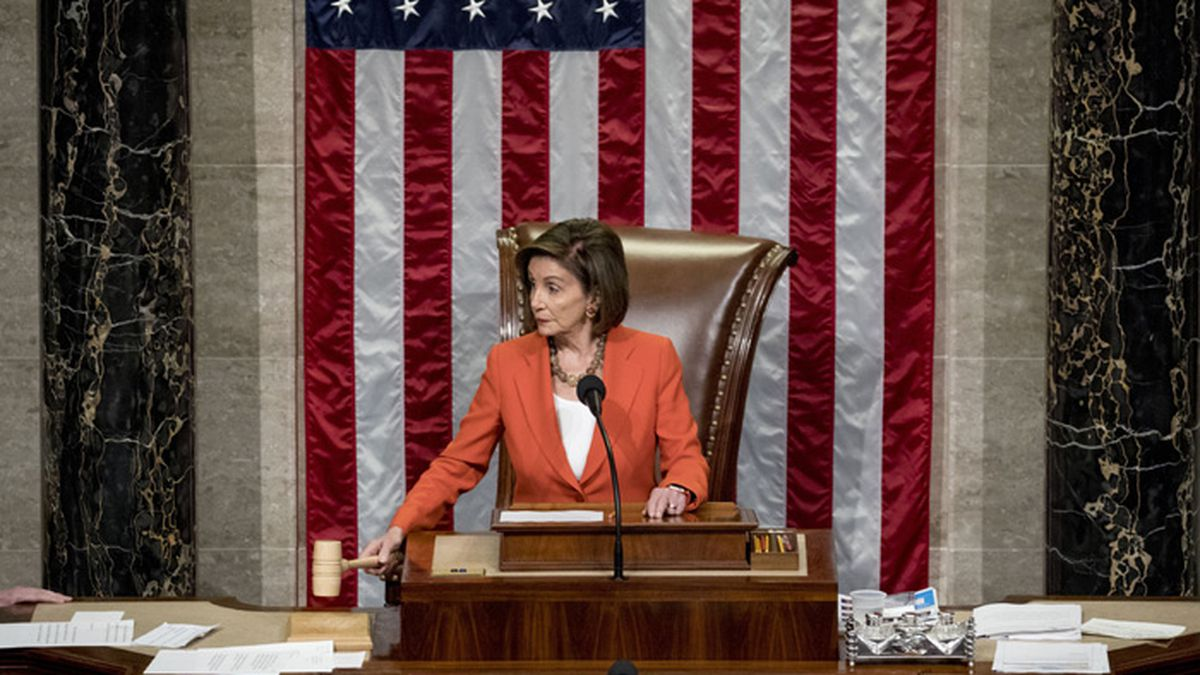 House Speaker Nancy Pelosi of Calif. gavels as the House votes 232-196 to pass resolution on impeachment procedure to move forward into the next phase of the impeachment inquiry into President Donald Trump in the House Chamber on Capitol Hill in Washington, Thursday, Oct. 31, 2019. (AP Photo/Andrew Harnik)