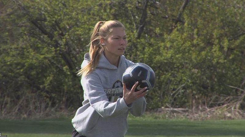Rylee Eschliman at practice for Northwest girls soccer