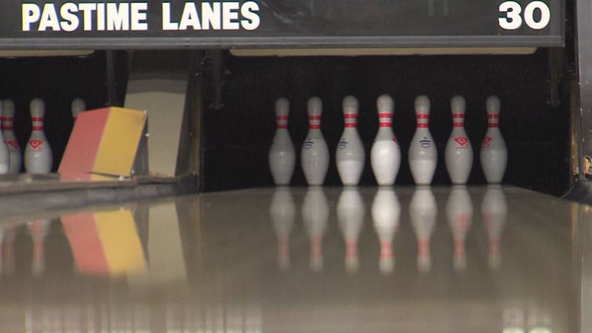 The pins are stacked up and waiting to get knocked down at Pastime Lanes in Hastings.