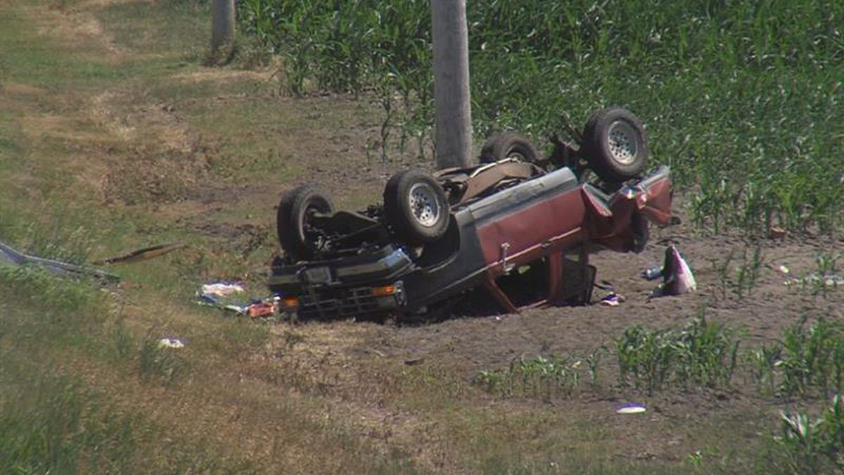This vehicle ended up overturned in a ditch next to Alda road  about 1.5 miles south of Alda.