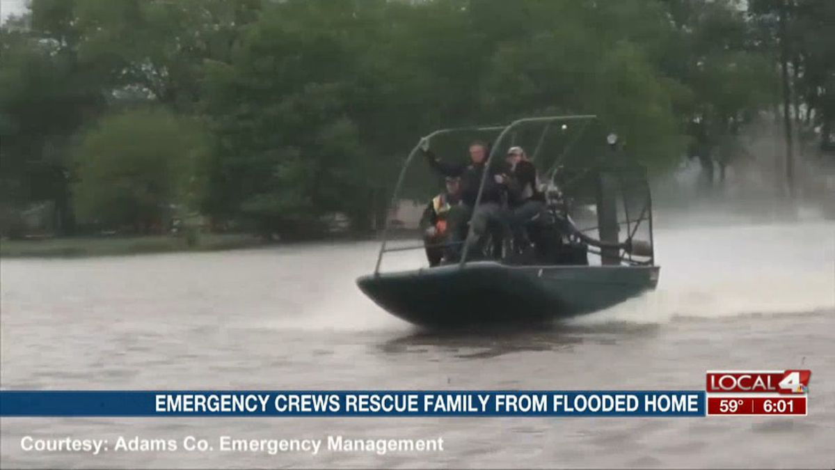 A Nebraska Game and Parks air boat carried a Kenesaw family to safety after being trapped in their flooded home overnight. (Source: Adams County Emergency Management)
