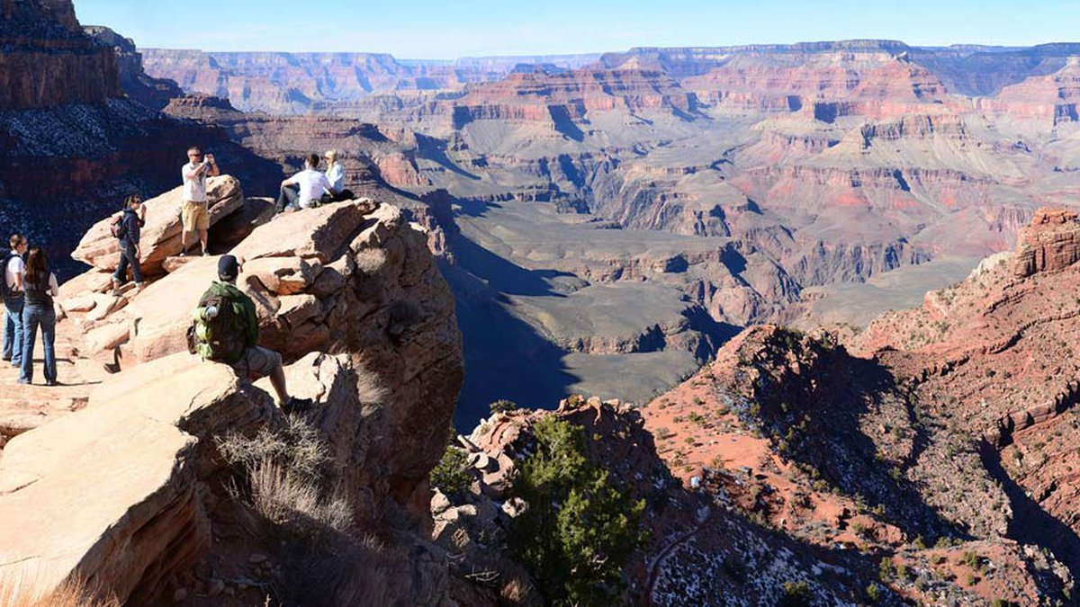 The South Kaibab Trail and aptly named Ooh Ahh Point is seen at Grand Canyon National Park.