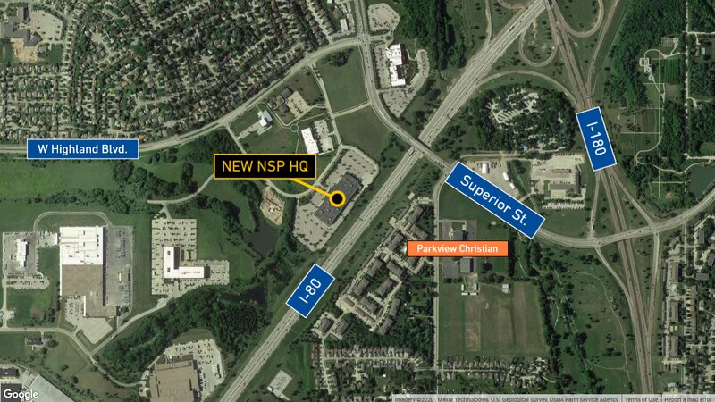 Map of new NSP headquarters location in Lincoln.
