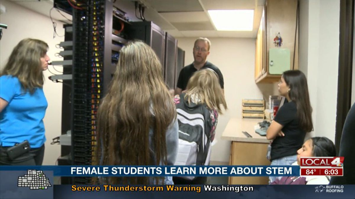 Female students with GISH's Academy for Engineering and Technology tour Chief Industries...