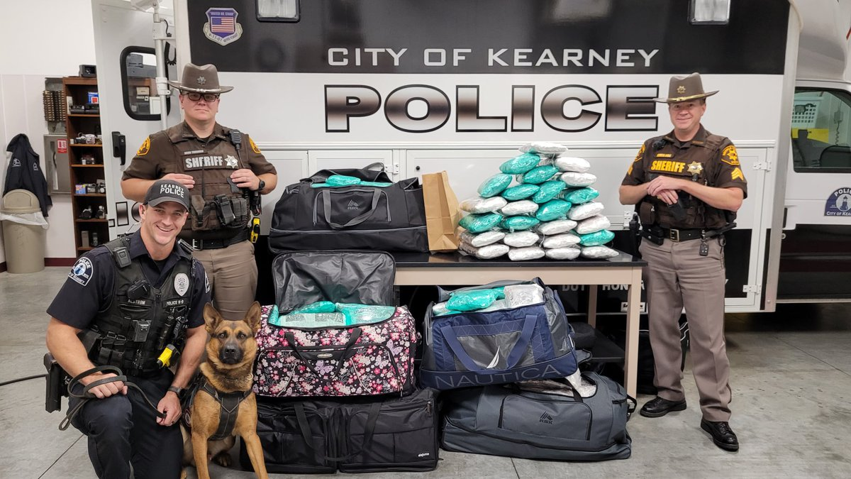 A Buffalo County traffic stop resulted in the seizure of 185 pounds of marijuana on Saturday.