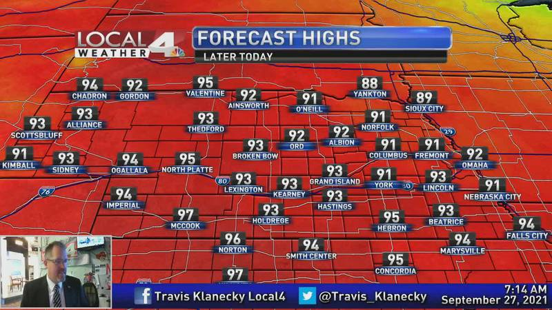 Near record high temperatures today, but big changes aren't too far away.