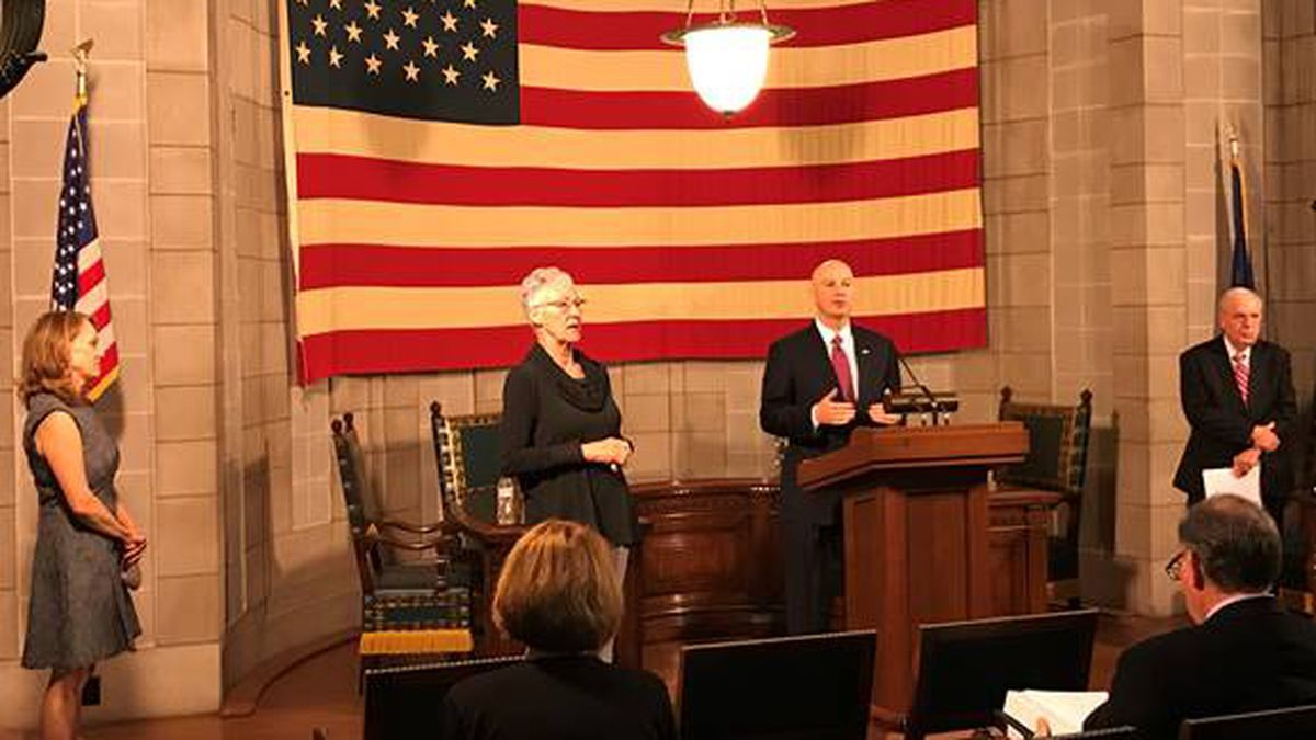 Gov. Pete Ricketts speaks during a press conference.