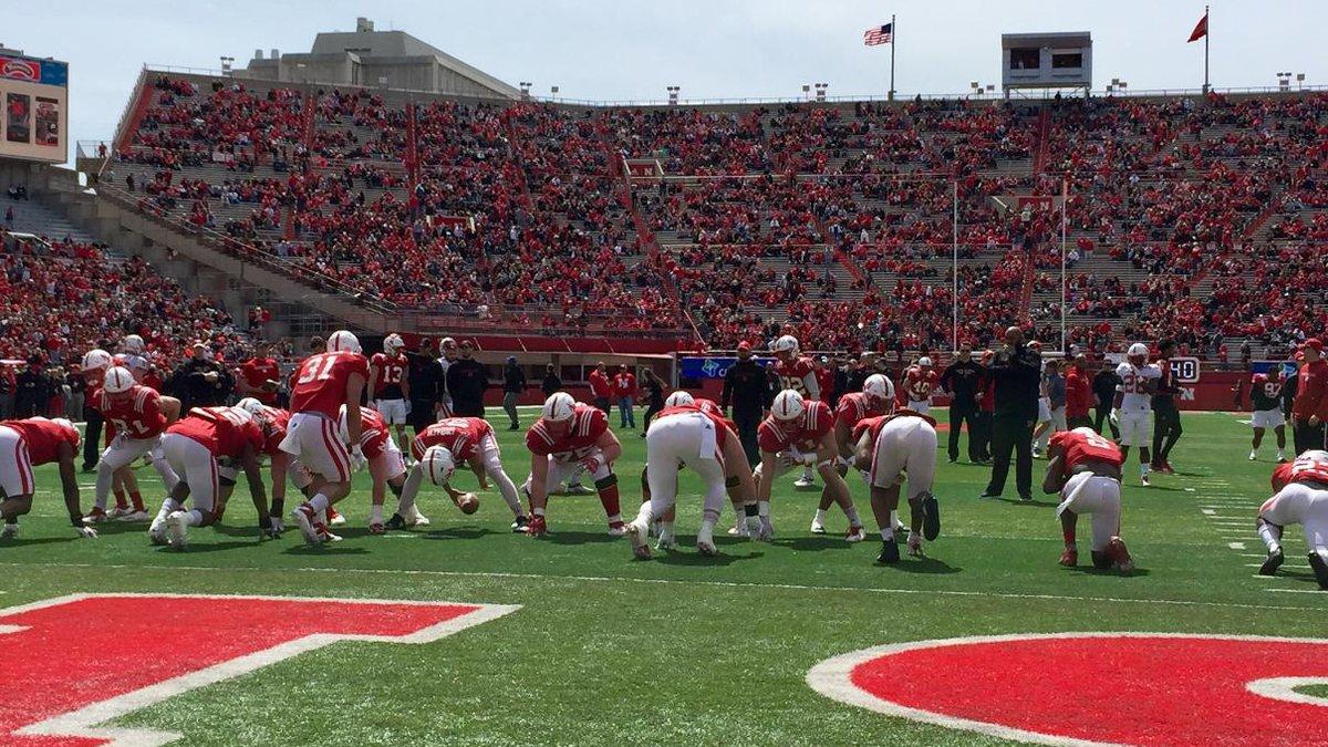 Husker players warm up on Tom Osborne Field before the Nebraska Red-White Spring Game on...