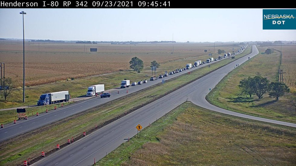Westbound traffic on I-80 near Henderson is at a standstill due to a multi vehicle crash...