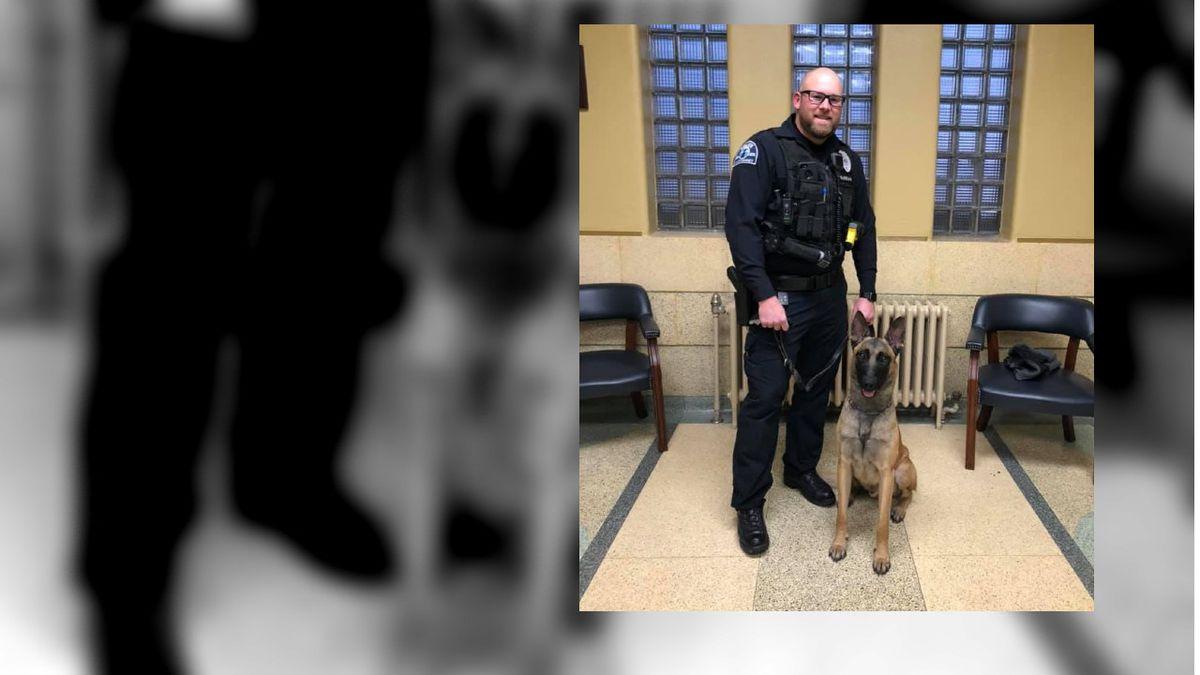 Kearney Police Officer Zach Schwarz stands next to his new K-9 partner Murphy. Murphy was sworn...
