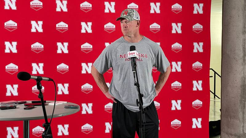Scott Frost speaks to the media after practice at Memorial Stadium in Lincoln on Friday, 8/6/21.