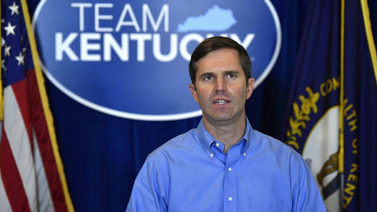 In this Sept. 23, 2020, file photo, Kentucky Gov. Andy Beshear speaks at the Kentucky State...