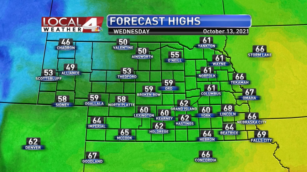 Much cooler, windy weather is expected for Wednesday with highs in the 40s, 50s, and 60s across...