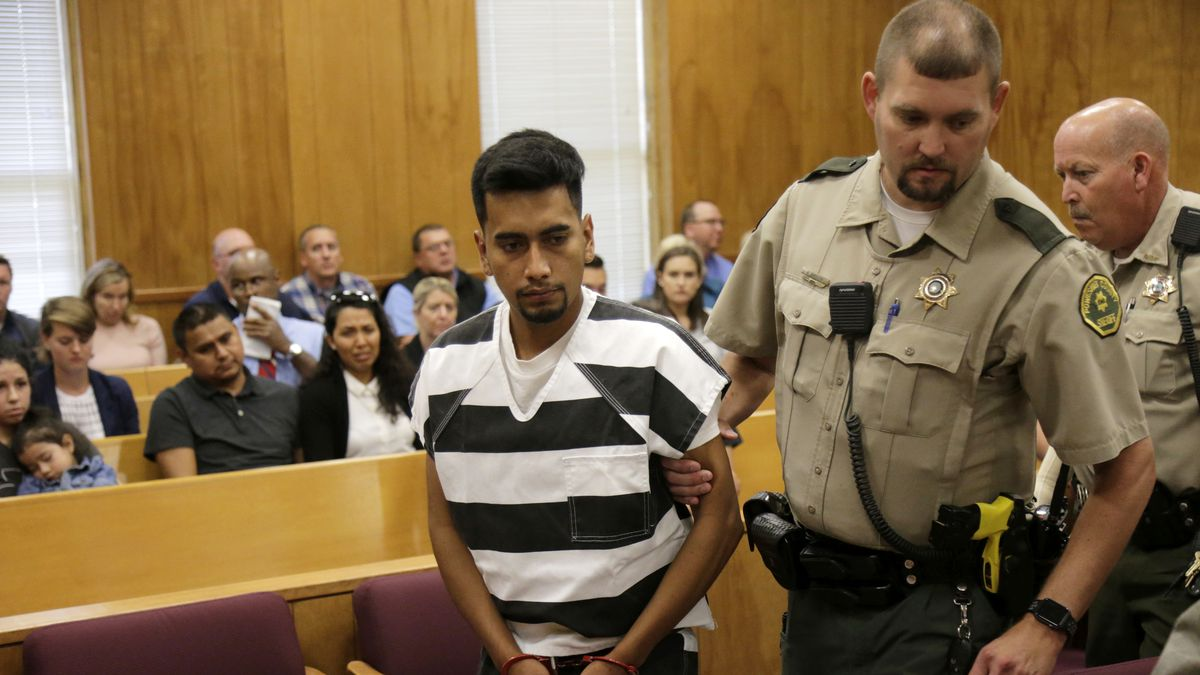 Cristhian Bahena Rivera is lead into the courtroom for his initial court appearance, Wednesday,...