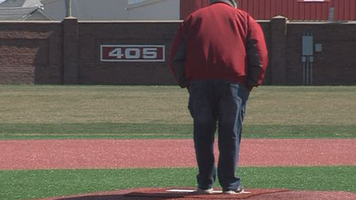 Hastings Baseball Committee Chairman Gail Jones stands on the mound at the empty Duncan Field.