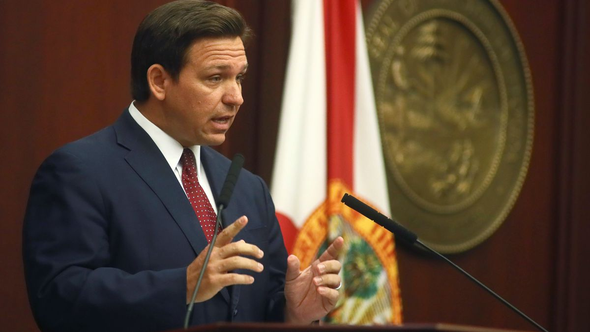 Florida Gov. Ron DeSantis speaks Tuesday, March 2, 2021, during his State of the State address...