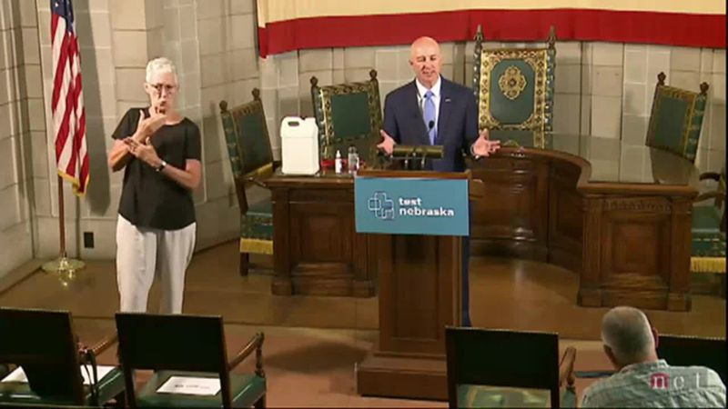 Nebraska Gov. Pete Ricketts answers questions during a news conference. (WOWT file photo)