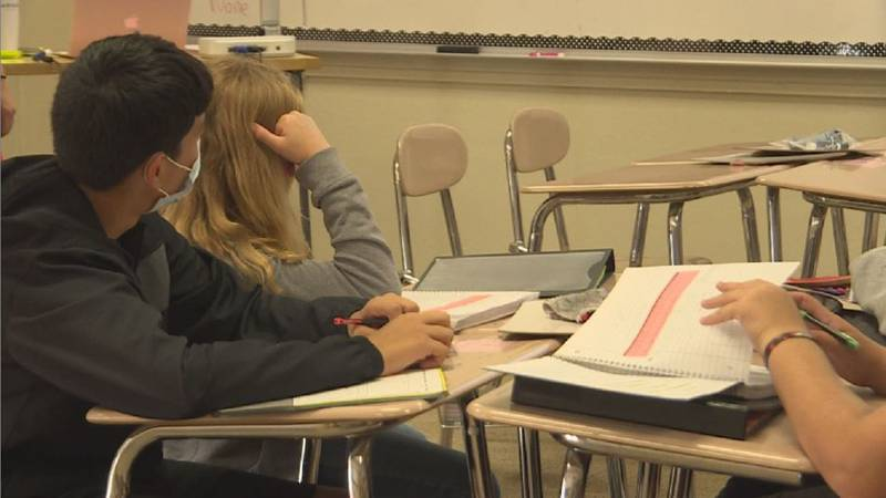 Students at Hastings Middle School listen to their teacher during class Tuesday.