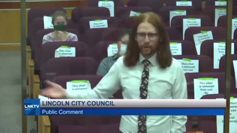 Ander Christensen speaking at the Lincoln City Council meeting on Monday.