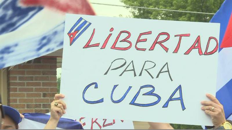 Group protests outside Habana Nights in Grand island.