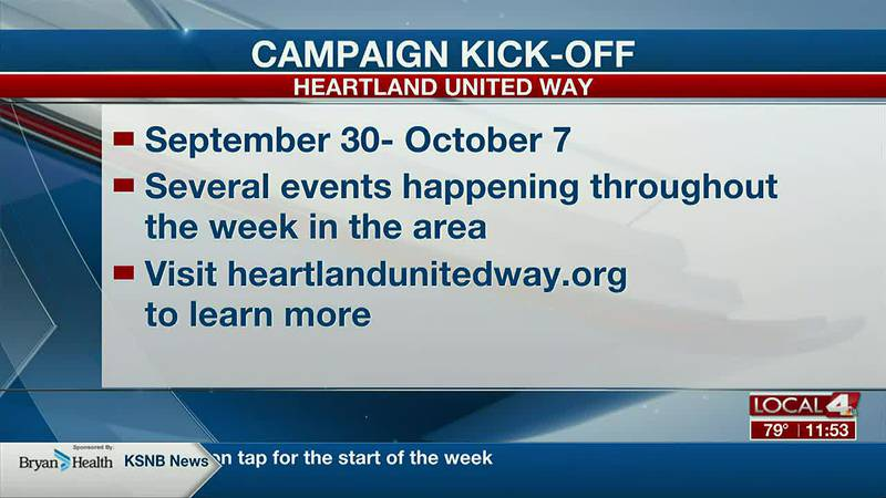 The Heartland United Way campaign kickoff is happening September 30- October 7.