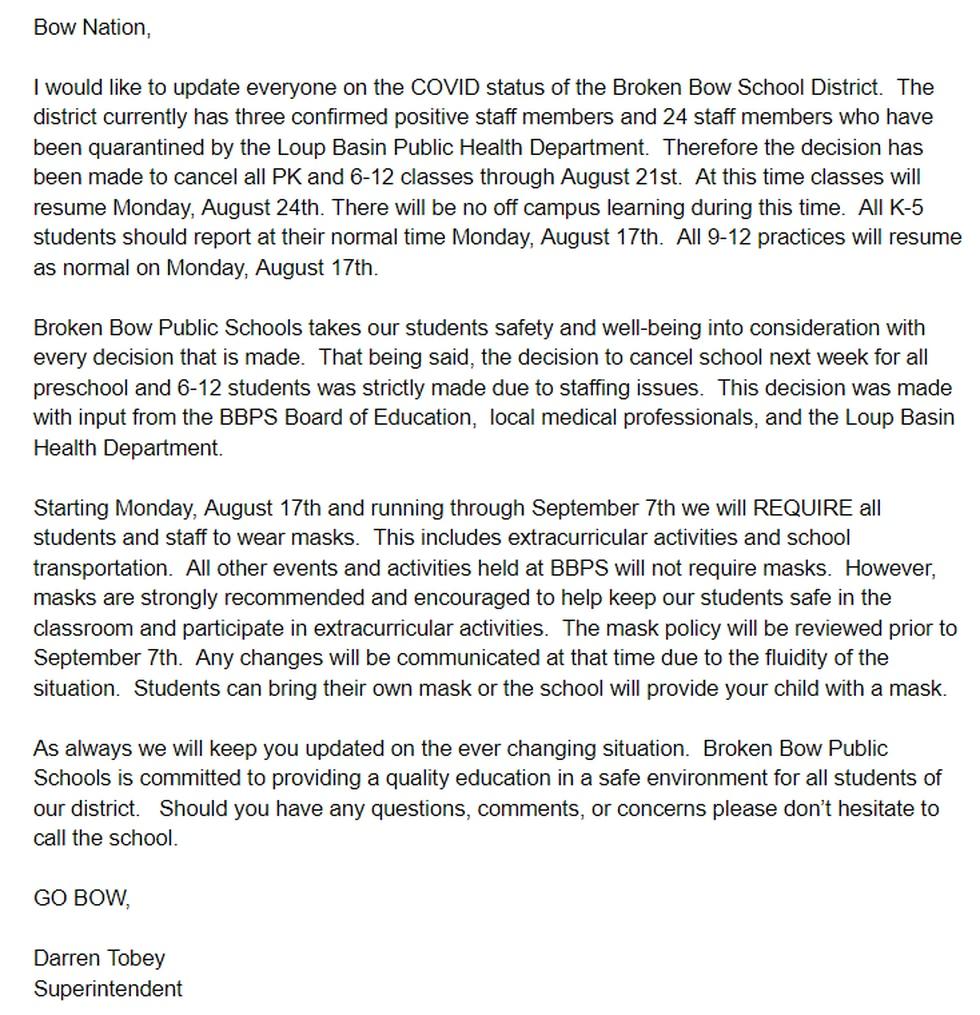 Statement released from Broken Bow Public Schools