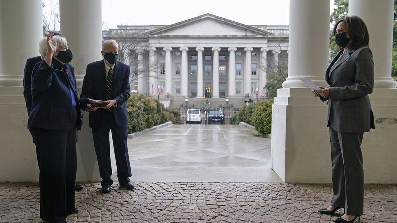 Vice President Kamala Harris participates in a swearing-in ceremony with Treasury Secretary...