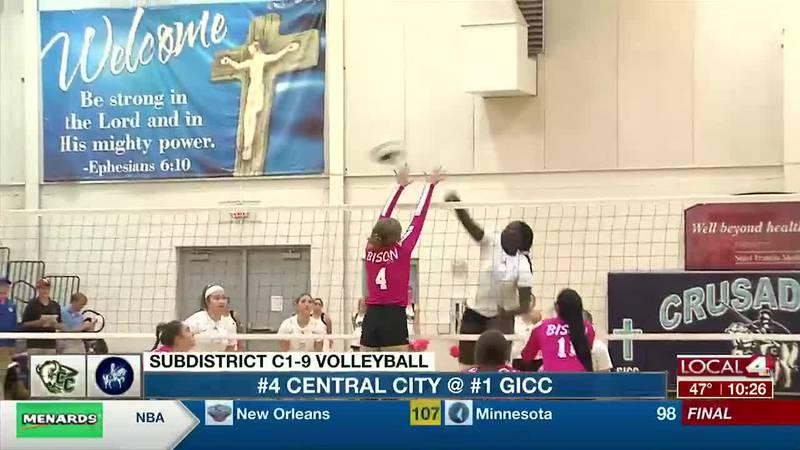 Lucy Ghaifan gets a kill for GICC volleyball.